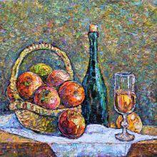 Натюрморт с ябълки и вино