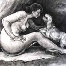 Гола жена с куче