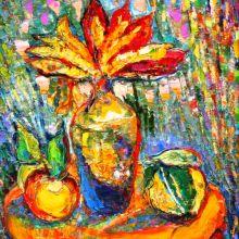 Натюрморт с ябълки и дюля