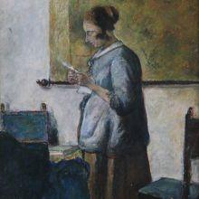 Жена в синьо, четяща писмо